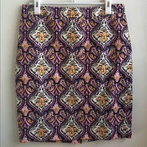 "JCrew ""The Pencil Skirt"" tapestry print,  size 4"